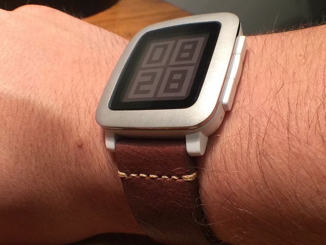 White Pebble Time Leather Strap