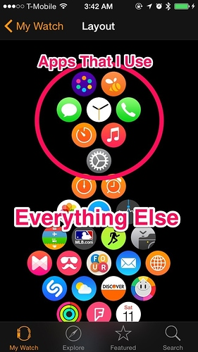 Apple Watch app layouts