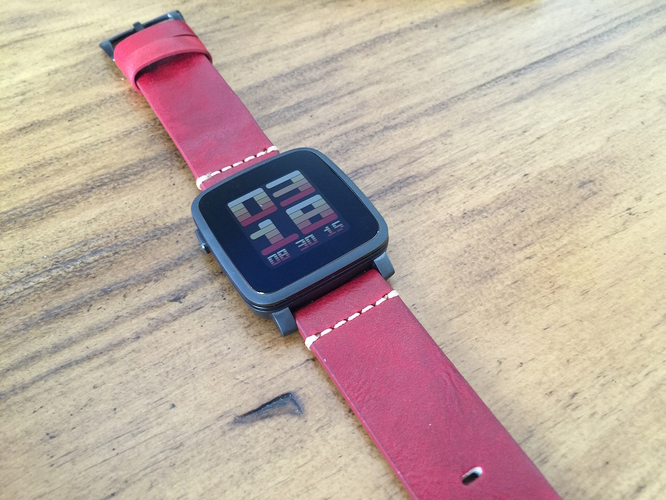 Pebble Time red leather band