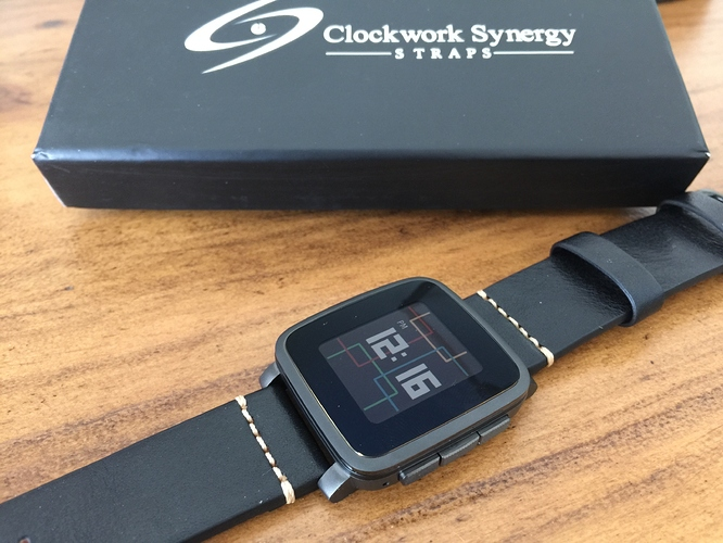 Pebble Time black leather strap