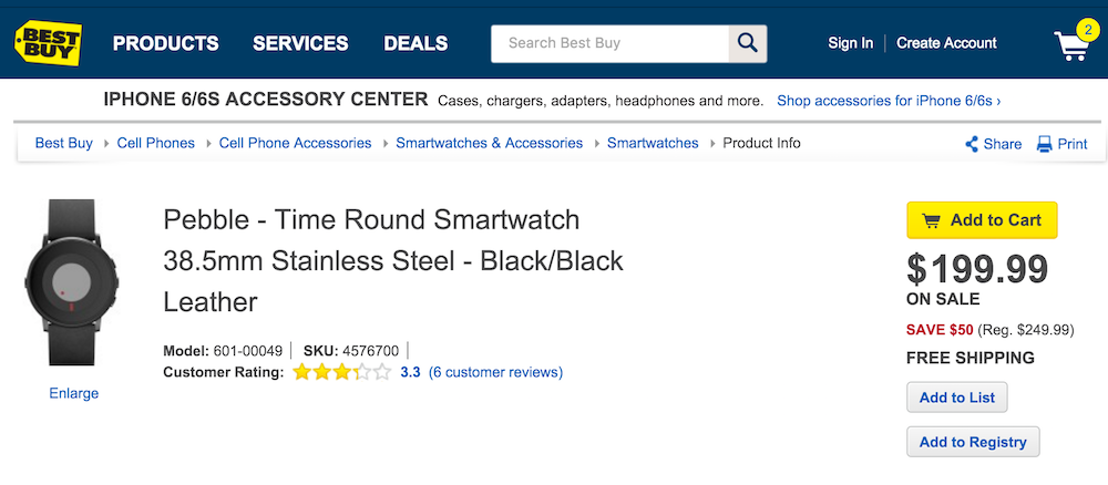 Best Buy Pebble Time Round