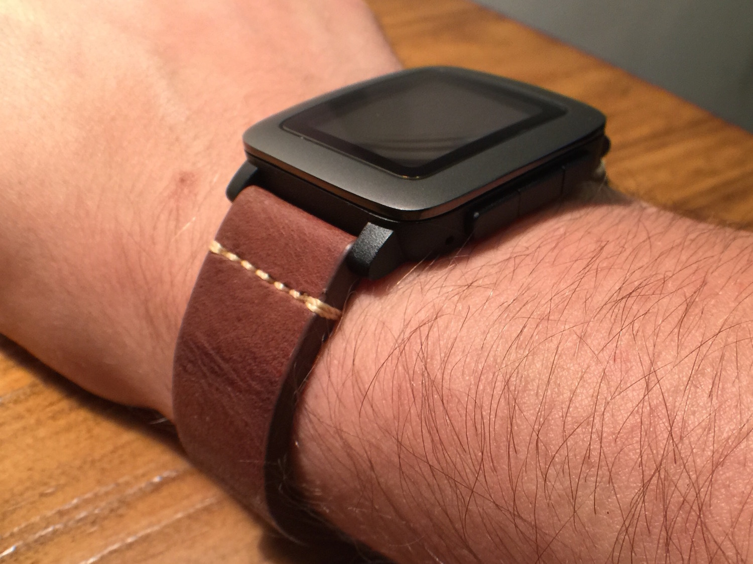 Brown Leather strap for Pebble Time