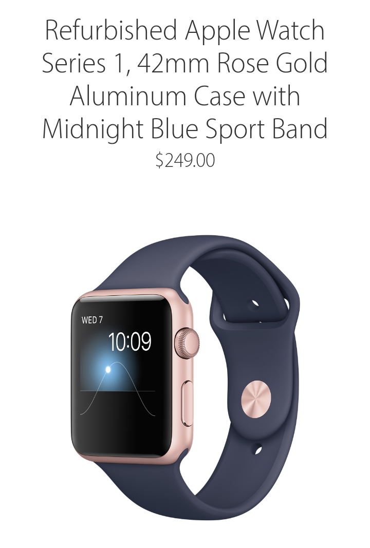 refurbished apple watch series 1 for 229 and 249
