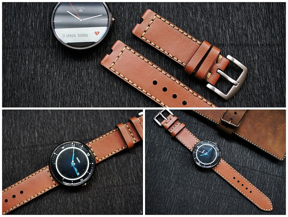 Moto 360 vintage leather strap