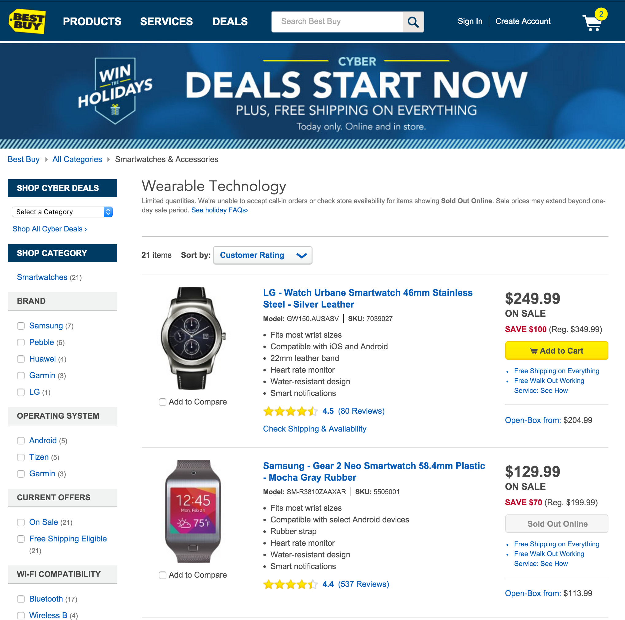 Best Buy Wearable tech Deals