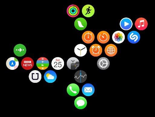 App layout for AppleWatch