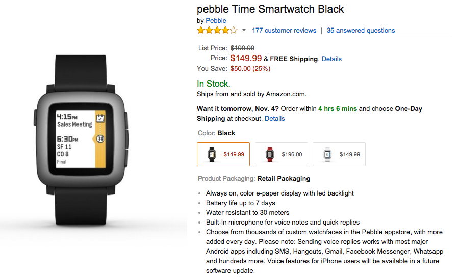 Pebble Time Smartwatch Now 25% Off At Amazon