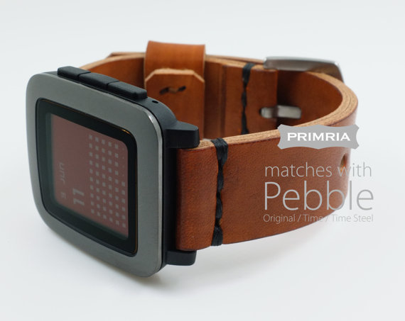 Leather Strap for Pebble Time