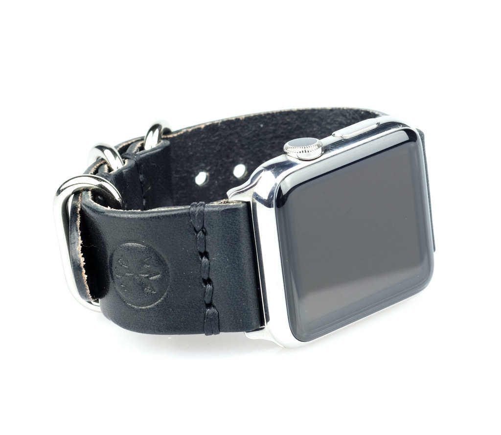 apple watch black leather band